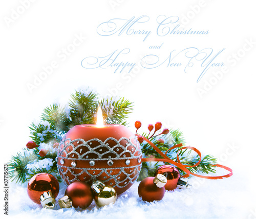 Christmas greeting card with Christmas Decorations on white  bac