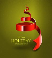 Christmas Tree Made By  Ribbon - Vector Illustration