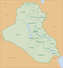 iraq map with name of territory