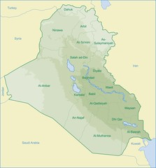 iraq map with relief of moutain