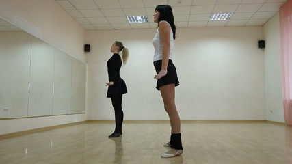 women  exercising in dance class