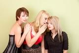 Attractive teen girls sharing secrets poster
