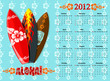 Vector blue Aloha calendar 2012 with surf boards