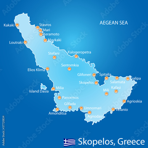 Island of Skopelos in Greece map