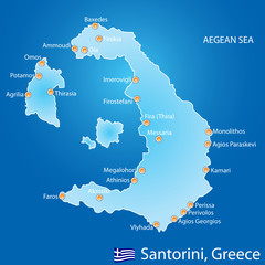 Island of Santorini in Greece map