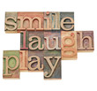 smile, laugh, play word abstract