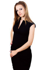 Business woman with hands folded over white background