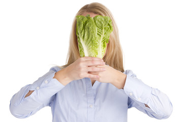 Blonde Woman Holding Salad Lettuce over Face