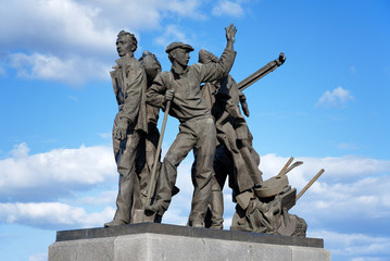 Monument to first builders of Komsomolsk-on-Amur, Russia