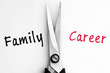 Family and Career words with scissors in middle
