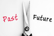 Past and Future words with scissors in middle