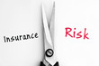 Insurance and Risk words with scissors in middle