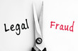 Legal and Fraud words with scissors in middle