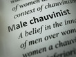 "Closeup to the word ""Male chauvinist"""