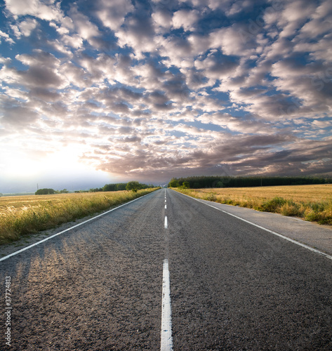 Clouds and Road poster