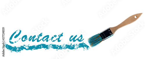 Contact Us word painted and brush