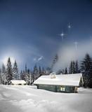 Fototapety Remote log cabin in winter
