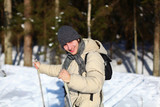 Young man cross-country skiing closeup