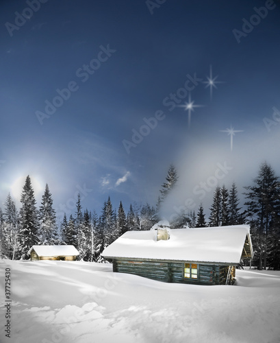 Remote log cabin in winter