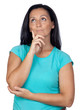 Pensive woman with blue t-shirt