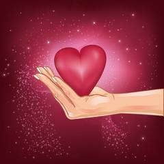 Hand holding a hot heart