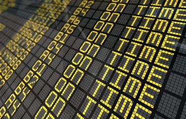 International Airport Board Close-Up with On Time Flights