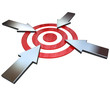 Four Competing Arrows Point at Bulls-Eye Target