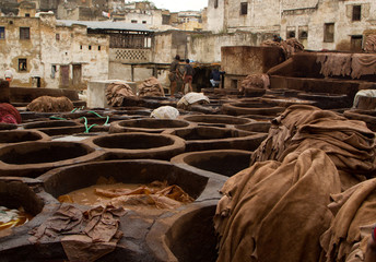 Morocco Fez Tanneryclose up view