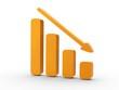 3d Icon Statistik fallend orange