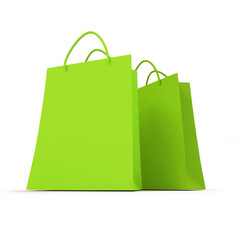 Pair of green shopping bags