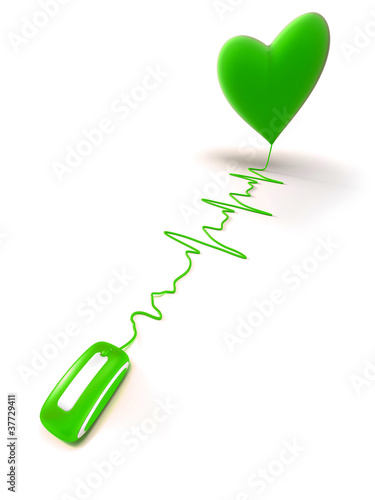 green heart on line