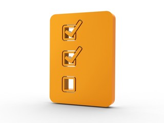 3d Icon Aufgabenliste orange
