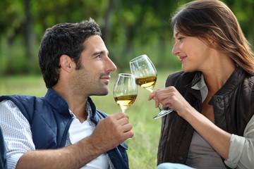 Couple drinking wine in field