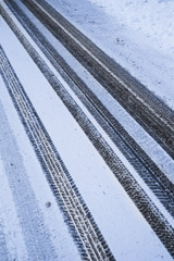 Tire Tracks In The Fresh Snow