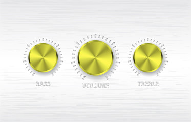 gold volume treble bass knobs