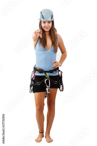 Woman in climbing helmet