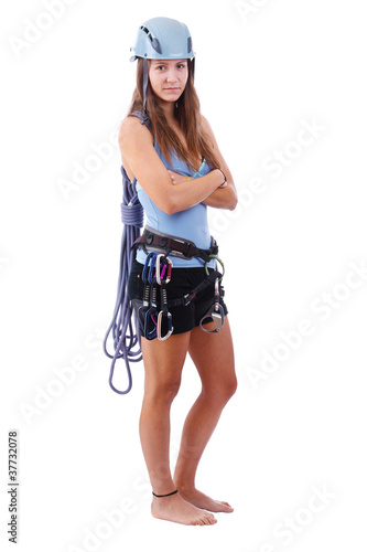 woman in climbing equipment