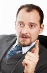 Business man gesticulating
