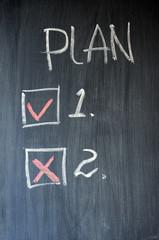 Plan written on blackboard