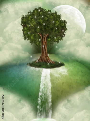Tree in a fantasy landscape