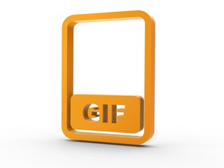 3d Icon Dokument GIF orange