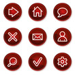 Basic web icons, dark red circle buttons