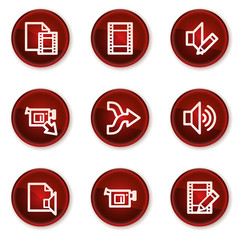Audio video edit web icons, dark red circle buttons
