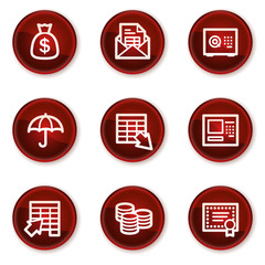 Banking web icons, dark red circle buttons