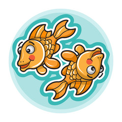 Cartoon Pisces - Colorfil Zodiac Symbol
