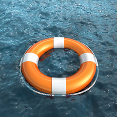 Realistic lifebuoy on water