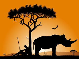 Silhouettes of a hunter, trees, and rhinoceros.