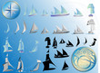 Set of sailing ships icon in 3 views