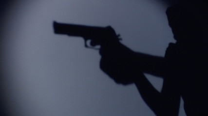 silhouette of an armed person sneaking through a room