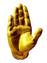 Stop, Handgestik in Gold